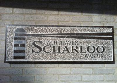 Plaquette Jachthaven Scharloo, Belgisch hardsteen, 135 x 30 x 4 cm