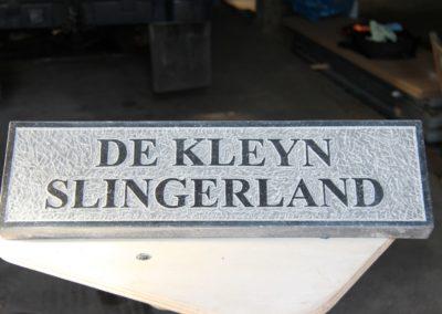 Naambord, Belgisch hardsteen, 40 x 12 x 2 cm